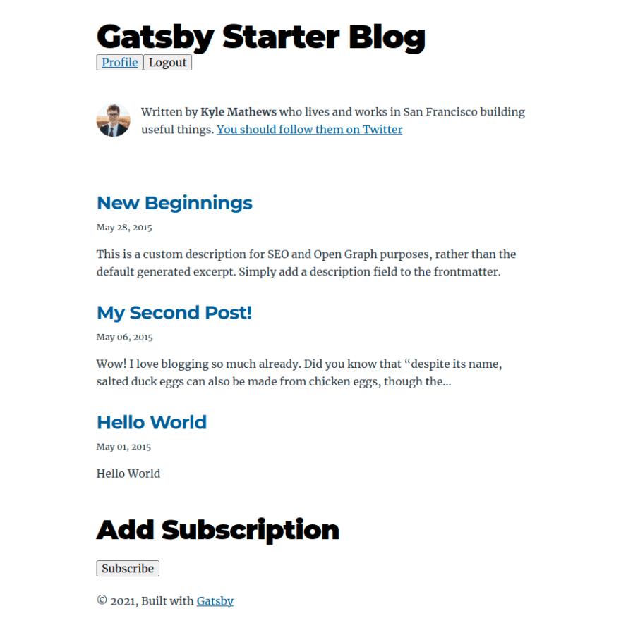 Gatsby Blog with Membership