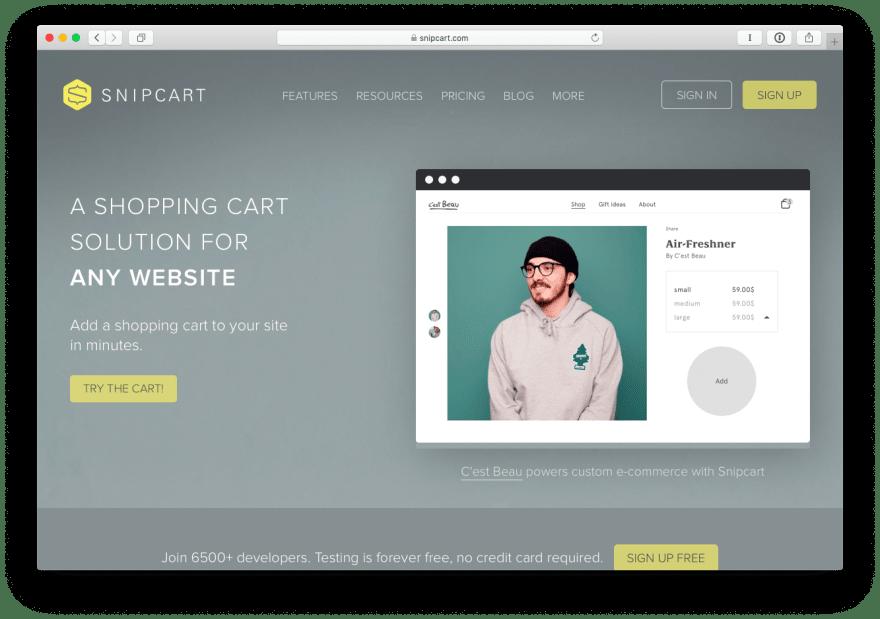 Snipcart Homepage