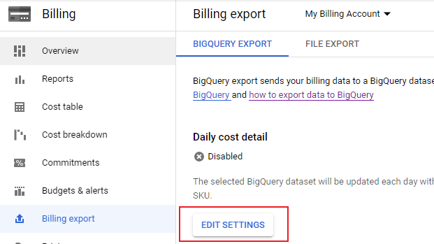 Billing Export UI with selection around 'Edit Settings'