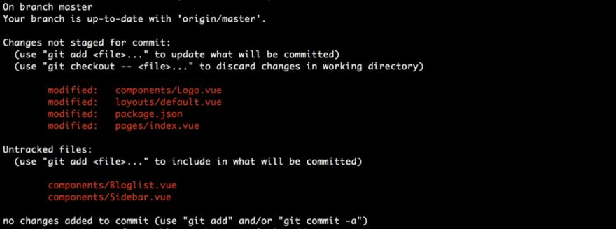 Git status result example