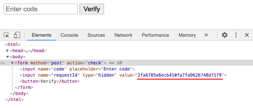 Source code showing the request ID inserted as the value for the hidden input