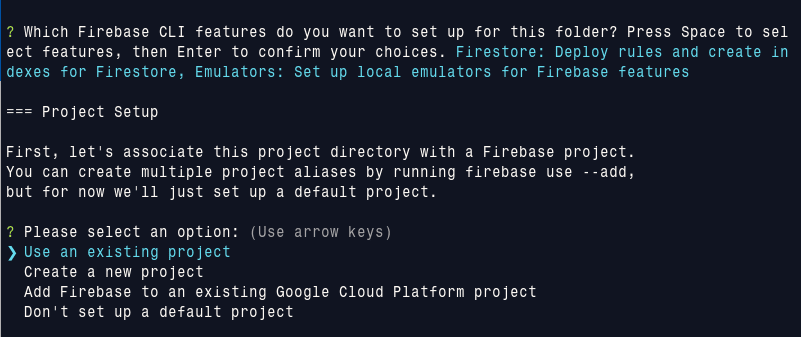 firebase init project choice