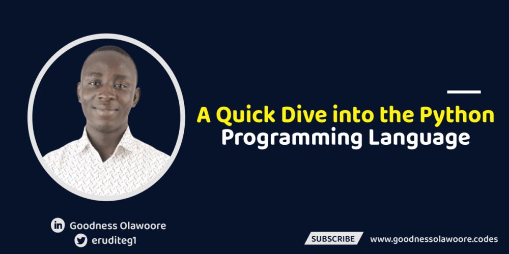 A Quick Dive into the Python Programming Language.