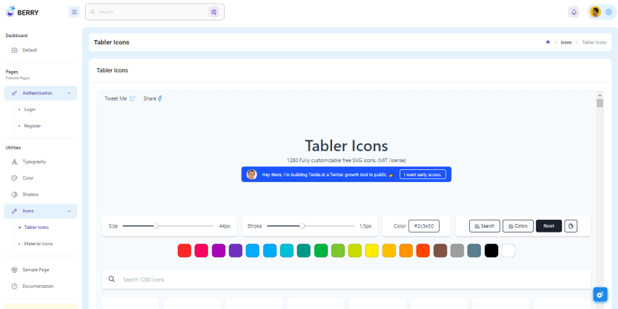 Berry React Dashboard - Icons Screen.