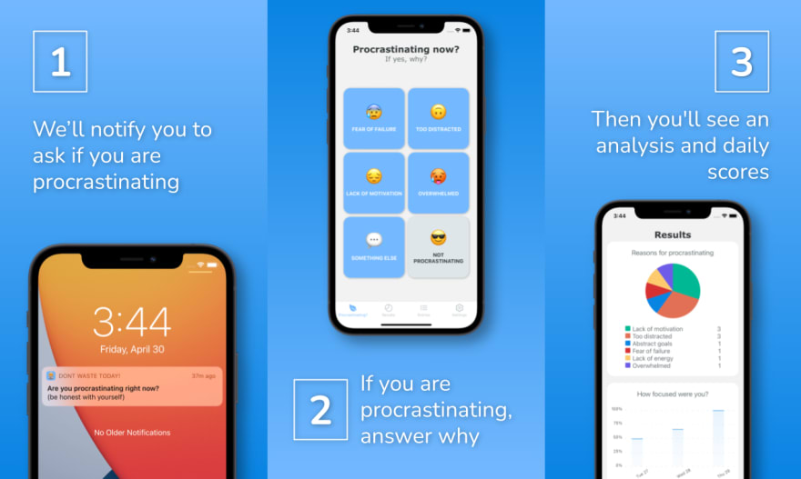 Screenshots from Don't Waste Today app