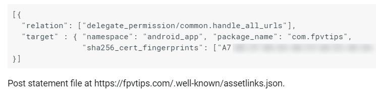 Generated assetlinks.json