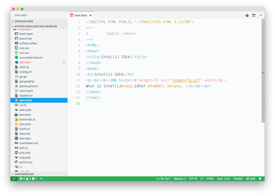 Screenshot of some HTML sample code