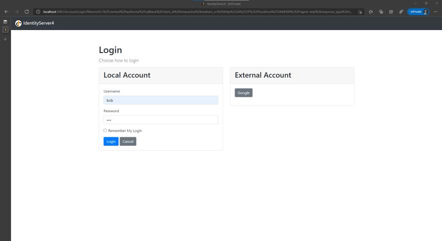 Alt Authentication page