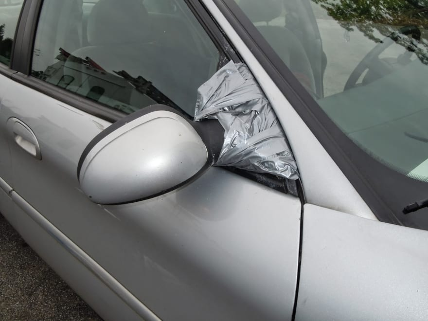 Duck Tape Fix for Car Side Mirror
