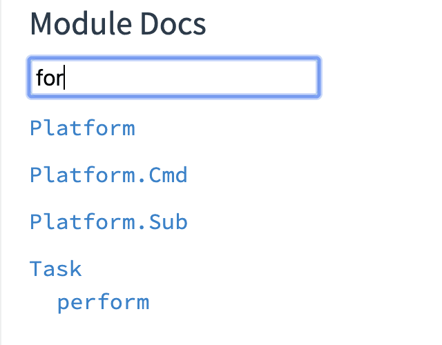 "Module docs for the term ""for"", no results..."