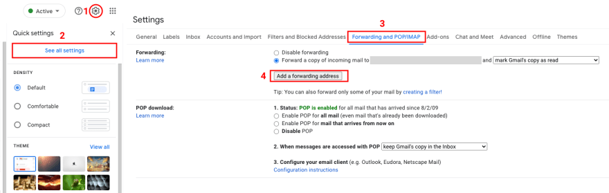 """Click the gear icon to access all settings (left). From the Settings page, navigate to """"Forwarding and POP/IMAP"""" to add a forwarding email address (right)"""