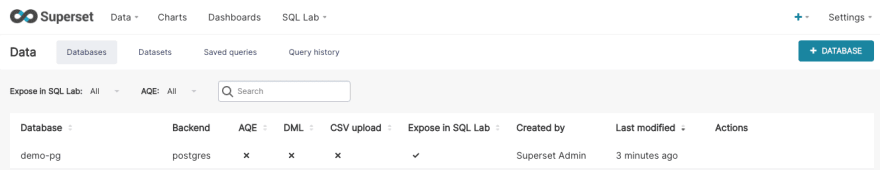 demo-pg database entry