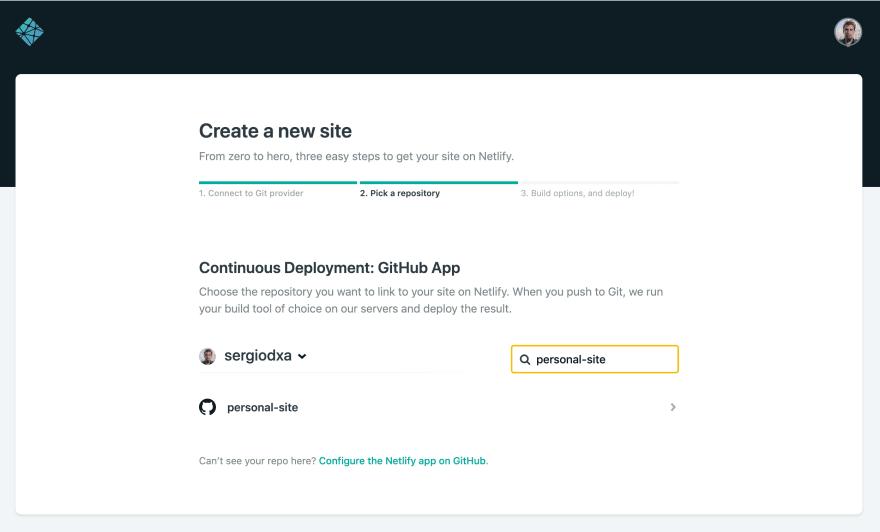 """""""Interfaz para crear un nuevo sitio en Netlify"""""""
