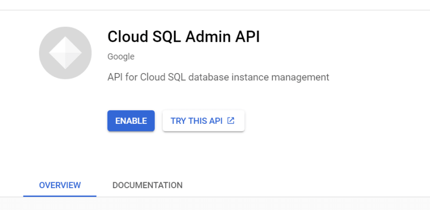 CLOUD SQL ADMIN API ENABLE IMAGE