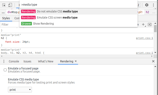 Chrome browser developer tools suggesting features when searching for media type