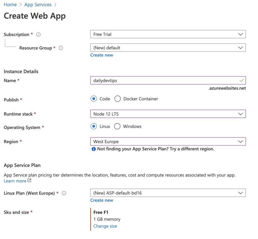App Service settings