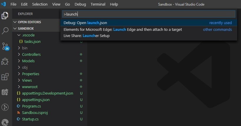 VS Code Command Palette with Debug: Open launch.json selected