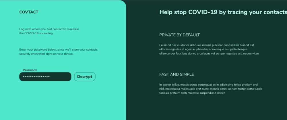 Cover image for Covtact: Secure contact diary to slow down COVID-19 [DO-Hackathon]