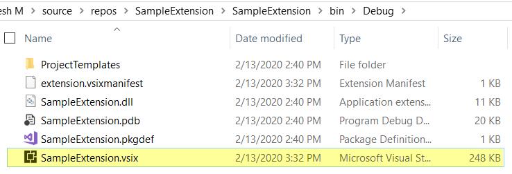 vsix file in the output folder