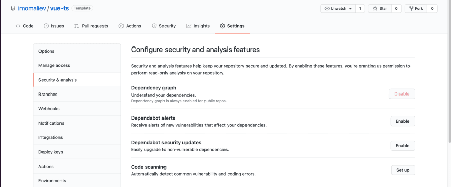 Configure security and analysis features