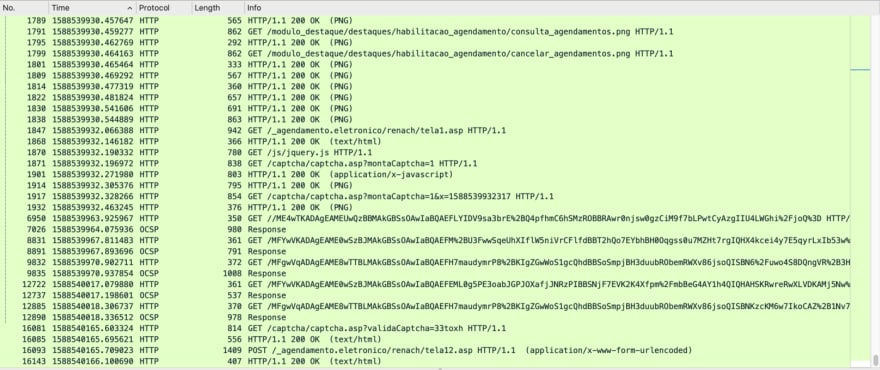 Pacotes HTTP de dados no Wireshark