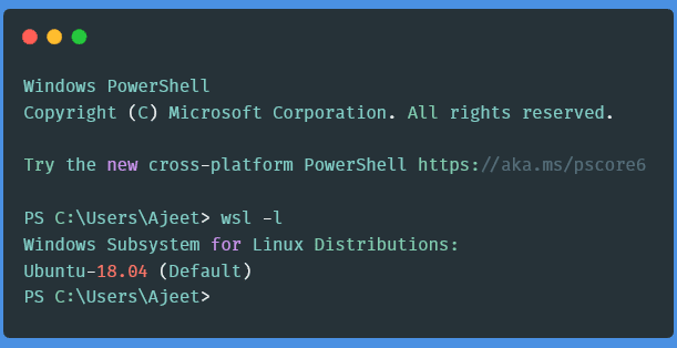 5Find distro using wsl - l command