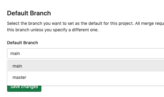 GitLab change default branch from master to main