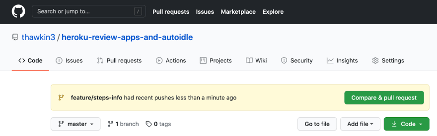 Creating a pull request in GitHub