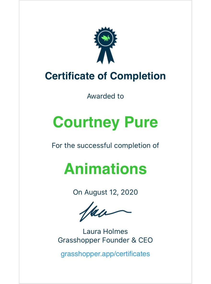 Certificate of Completion Animations from Grasshopper