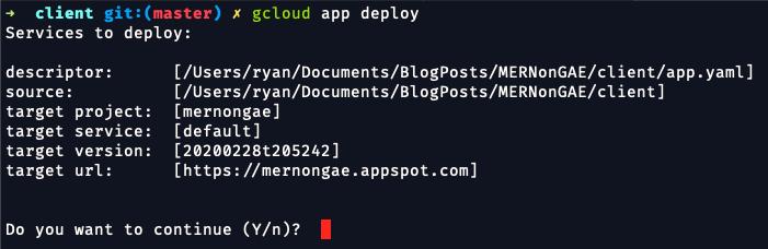 gcloud app deploy command