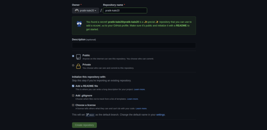 Screenshot of creating new GitHub repo