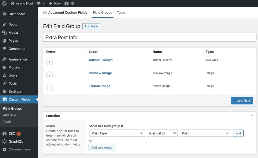 WordPress ACF fields setup