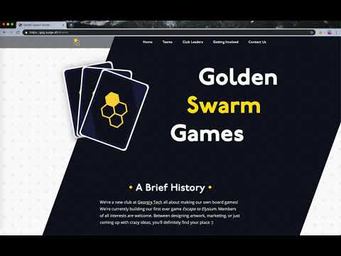 Screenshot of the Golden Swarm Games club splash page