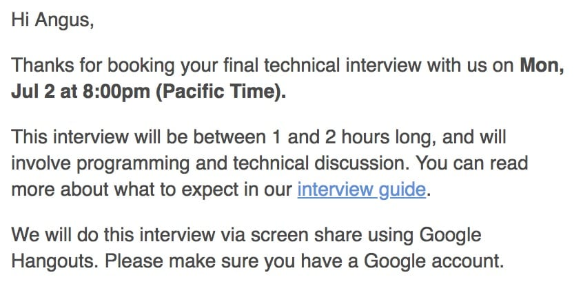 Scheduling an interview...