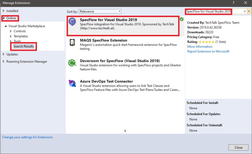 specFlow for Visual Studio 2019