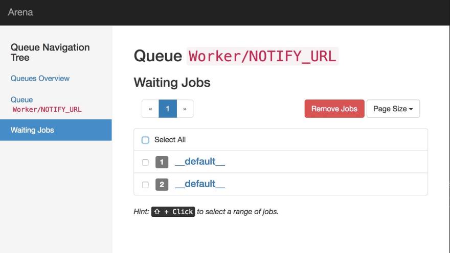 Screenshot of waiting jobs on the NOTIFY_URL queue
