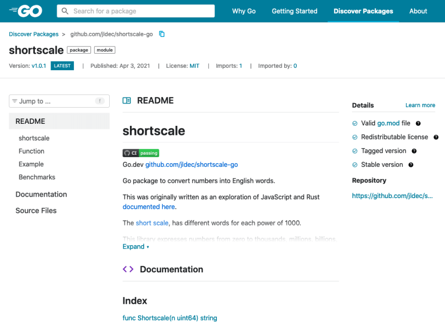 Module page for shortscale-go on go.dev