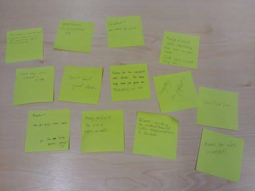 Positive feedback - green post-its