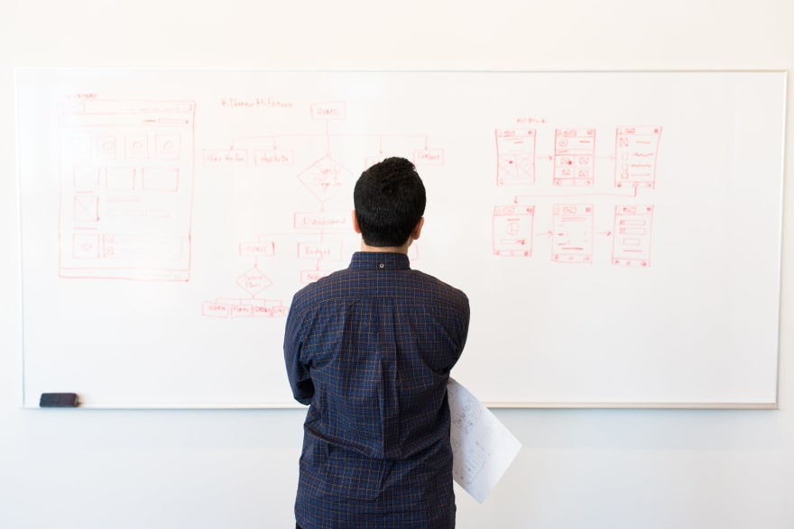 Man studying whiteboard of code