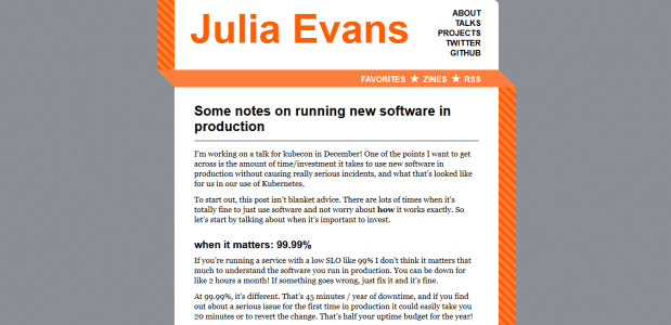 A screenshot of Julia Evans' article on running new software in production.