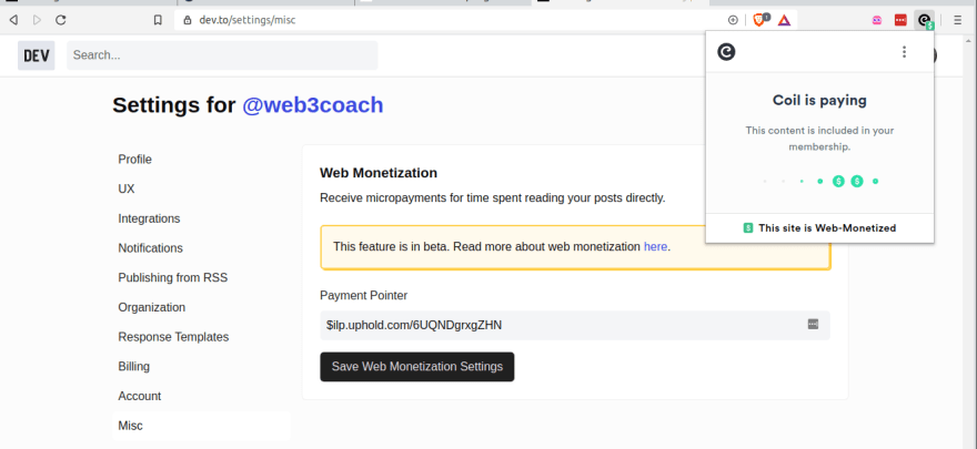 Configuring Web3Coach dev.to Payment Pointer