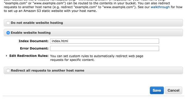 AWS Bucket Hosting