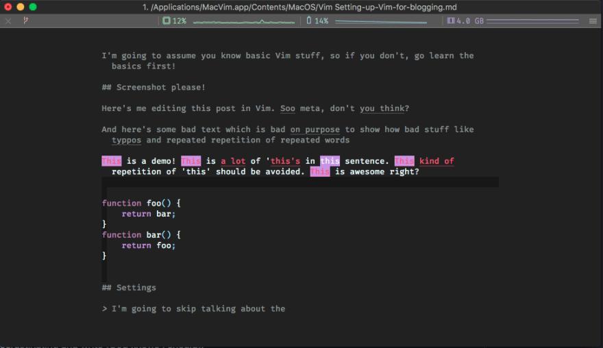 Screenshot of vim editing