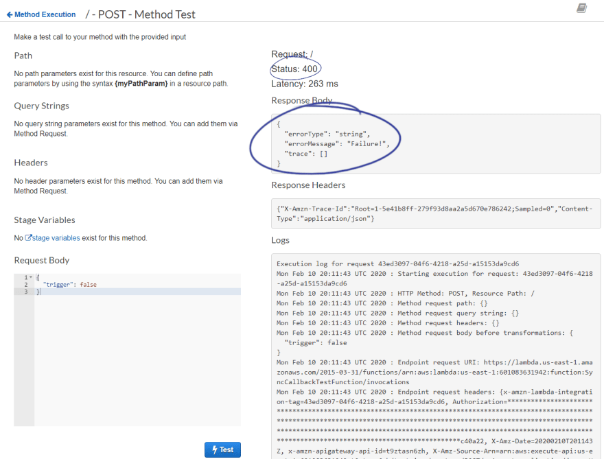 400 Code in test result