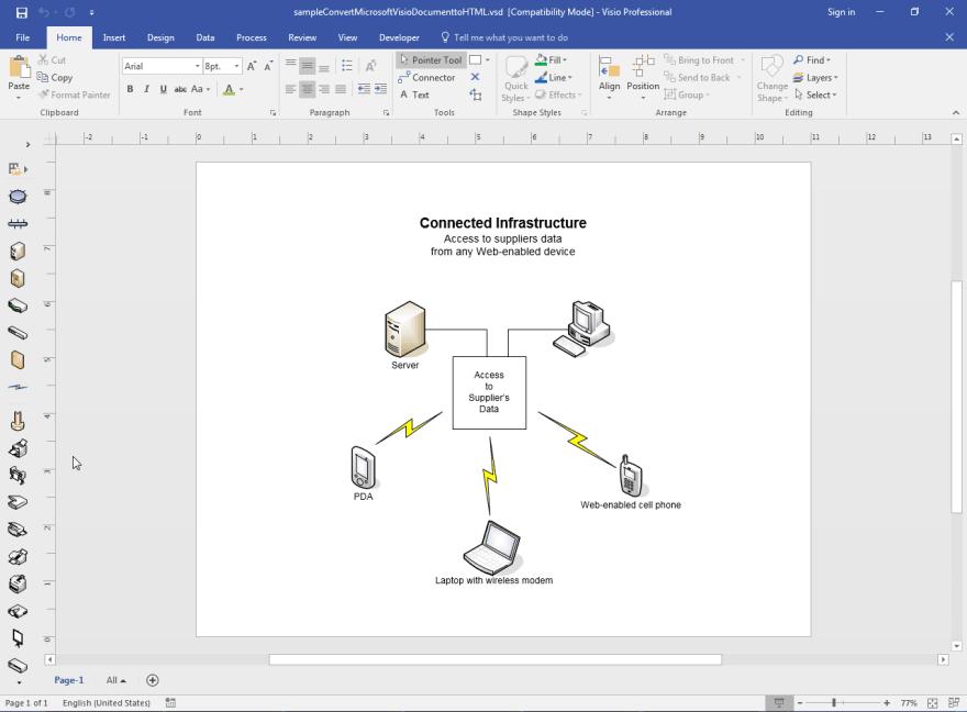 Sample Microsoft Visio Document to be converted to HTML using Aspose.Diagram API.