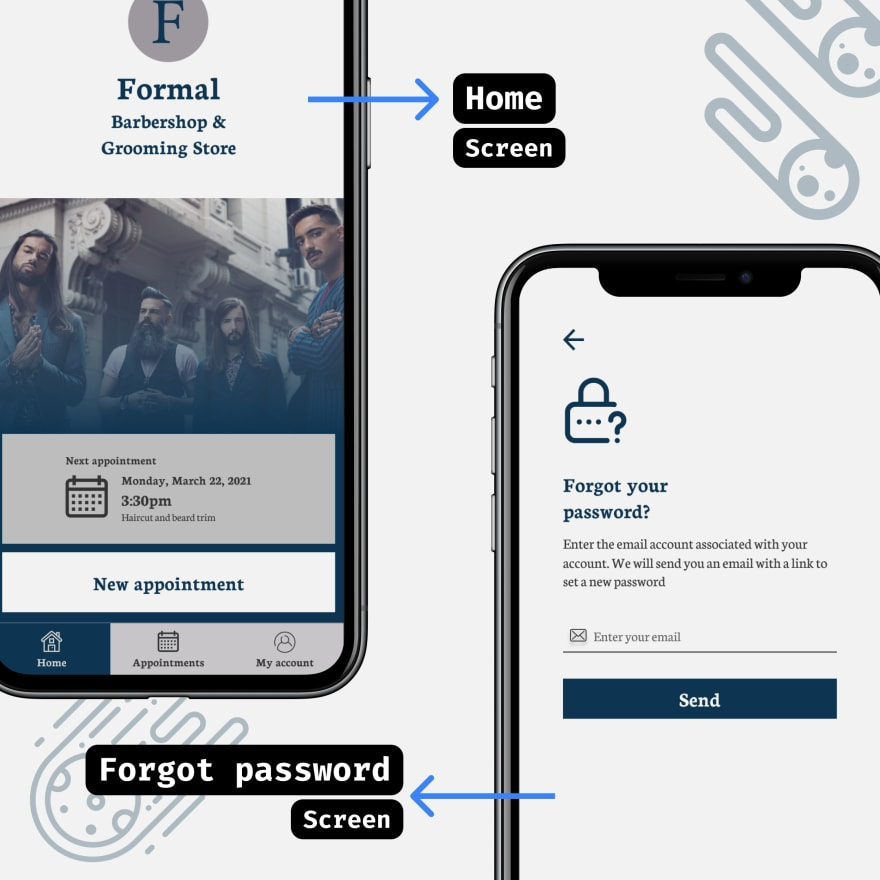 Formal Barber booking app - Home and Forgot Password screens