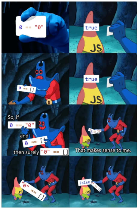 """if 0 == """"0"""" is true and 0 == [] is true then why does JS think """"0"""" == [] is false?"""