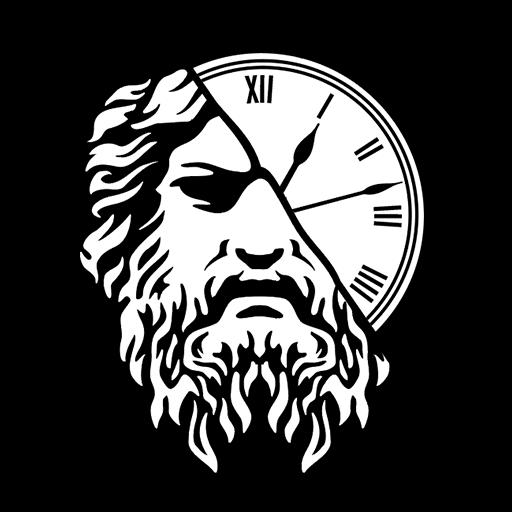 Chronos avatar: white-on-black gloomy antique half-human half-clock face