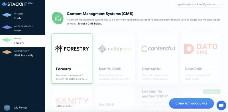 Choose Forestry as the CMS on Stackbit