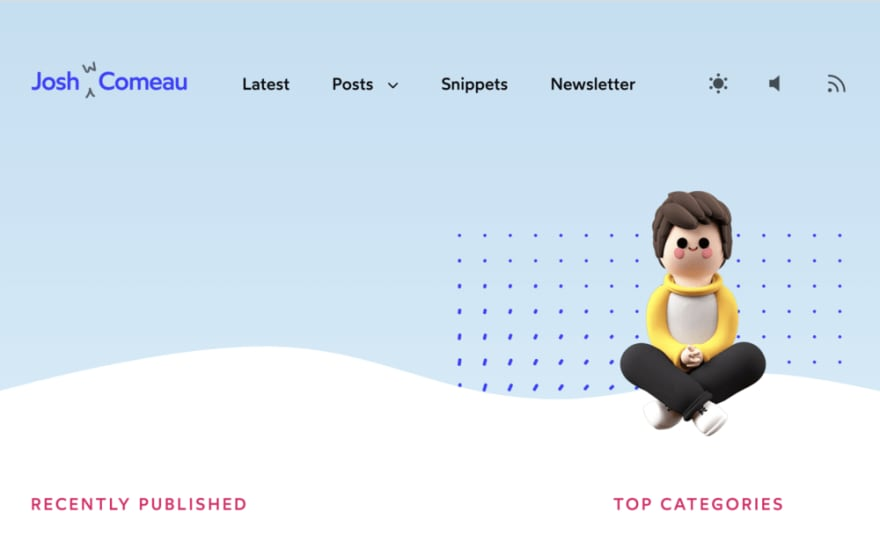 Joshua Comeau's blogs site design is adorable, with tons of artful CSS touches, like the blue grid of dots that react to your mouse position.